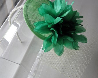 Jade Green Silk Flower Sinamay Fascinator Hat with Veil and Pearl Beaded Headband, for weddings, parties, special occasions