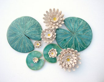 Lily pad coaster Handmade ceramic Waterlily green leaf MADE TO ORDER