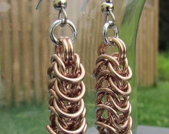 Chainmaille Earrings, Gold Earrings, Box Chain Earrings, Champagne Gold Jewelry