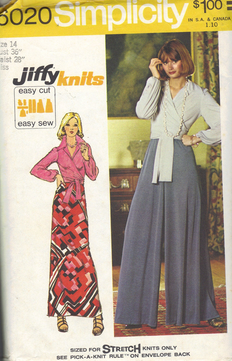 70s Simplicity Sewing Pattern Maxi Skirt Wide Leg Lounge
