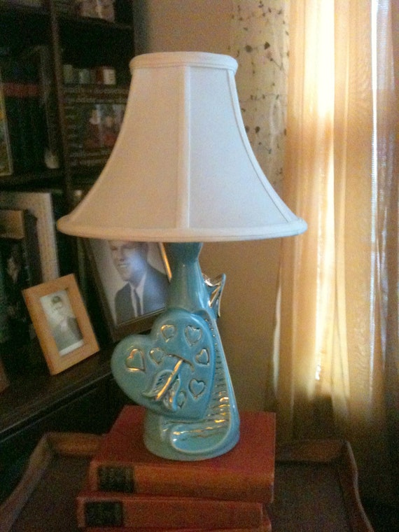 Vintage Lamp Turquoise and Gold Table Lamp Unique and Rare