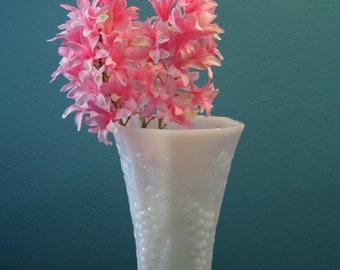 Vintage Milk Glass Paneled Vase with Classic Grape and Leaf Vine Design, White Wedding, Wedding Decor, Party Decor, Housewarming