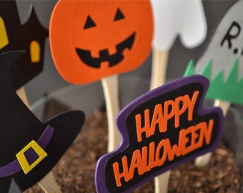 Fun and Spooky Halloween Cupcake Toppers - Set of 12
