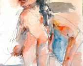 "Watercolor female figure, expressive nude, fine art digital print from my original watercolor, 11"" x 14"" Vernon Grant, Woman with Black Hair"