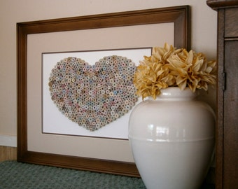 Recycled Paper Heart Wall Art, Neutral/Natural Shades, 16 x 20 Walnut Frame with Mat, Handmade