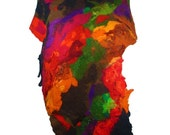 Felted Scarf Multicolor Scarf Nunofelt Scarf Long Wrap Wool Scarves Felt Nunofelt Nuno felt Silk Rainbow Eco shawl Fiber Art