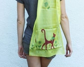 GIFT FOR MOM Yellow red cat scarf summer hand painted silk scarf batik art funny kids modern