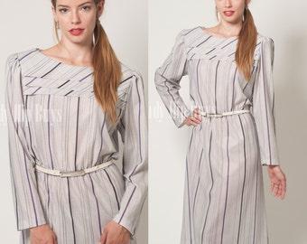Vintage 80s Dress, Vintage Gray Dress, Vintage Purple stripe Dress, Vintage stripe dress, 80s secretary dress - L/XL