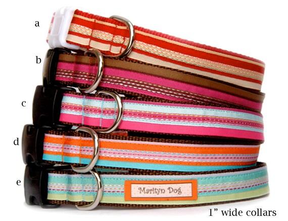 Stripe ribbon dog collar dog leash Red pink orange blue green colorful 2 tone cute pet collars for small dog large dog girl dog boy dog