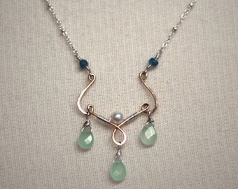 Temple Rain - sterling silver necklace and hand-forged 14k gold-fill pendant with pearl, russian calcite and sapphires