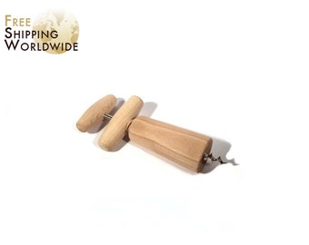 Wooden wine bottle opener - Corkscrew - from Beech wood - 71