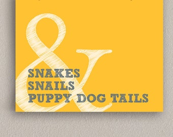 Baby Boy Nursery Art Print - Snakes & Snails and Puppy Dog Tails - Mustard Yellow and Gray, 11x14