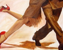 Dance art print on Paper, Dancing tango legs, Couple dancing, Female dancer's legs dressed in bronze skirt and red Shoes-dancers gift  16x20