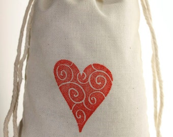 Valentines Day Favors, 10 3 x 5 Muslin Bags Hand Stamped with Red Hearts, Party Favor Bags, Wedding Favor Bags, Gift Bags, Treat Bags