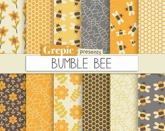 """Bee digital paper: """"BUMBLE BEE"""" with bee images, honeycomb patterns, flowers and honey bees in orange and yellow for scrapbooking, cards"""