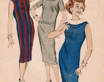 1950s Butterick 8624 Vintage Sewing Pattern Junior Chemise, Slim Dress Size 13 Bust 33