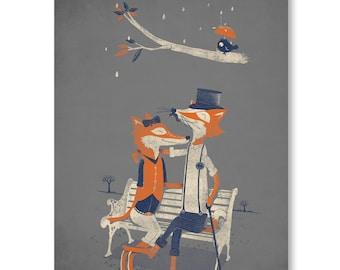 Fox Art Print / Fox Wall Art / Animal Love / Birds / Romantic / Top Hat / Home Decor / Great Gift / 8x10
