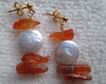 CHA CHA Earrings On Gold Vermeil Posts With Carnelian, Coin Pearls & Swarovski Crystals