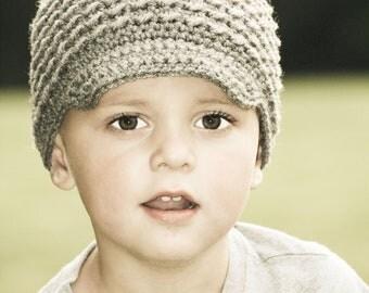 Crochet Baby Boy Hat, Crochet Baby Hats for Boys, Baby Newsboy Hat, Gray, MADE TO ORDER