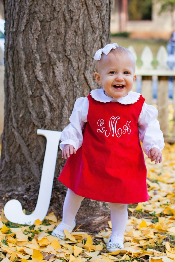 Girls Monogrammed Red Jumper Dress