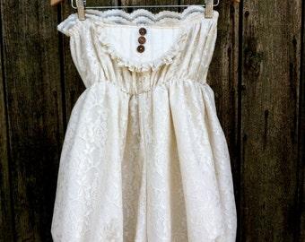 Edwardian Style Lace Ruffly Romper/ Bloomers