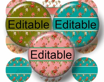 Floral, Editable Bottle Cap Images, 1 Inch Circles, Digital Collage Sheet, Editable Collage Sheet, Bottle Caps, (No.2) Cupcake Toppers, Bows