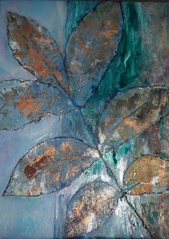 Emerald Green Copper Autumn Leaf Still Life Small by