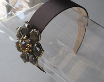 Crystal Beaded Green Flower Brown Satin Headband, for weddings, parties, bridesmaid, special occasions