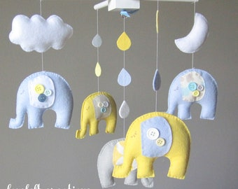 Baby mobile - Baby crib Mobile - Elephant Mobile - Nursery Mobile - Baby boy Mobile - You can PICK ur COLORS and FABRIC :)