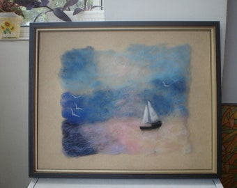 Framed Wool Painting Marine Art Sea Landscape Boat Ready to Hang Art Seagulls Sunrise Ocean Waves