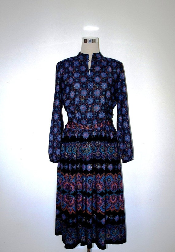 Boho dress. Vintage 70's dress. Secretary dress. Floaty black and purple fabric. Sheer sleeves and bodice. Medium.