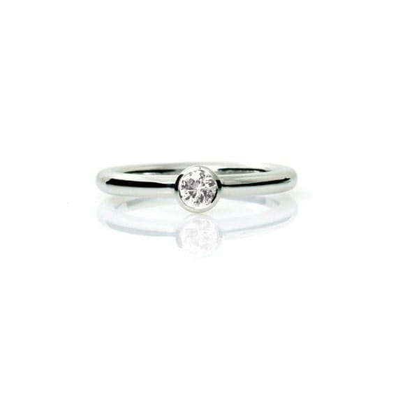 Items similar to White sapphire ring engagement ring bezel solitaire sapp
