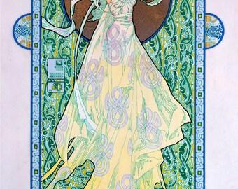 "Irish Fantasy art Goddess 23x16"".Celtic, Irish, Ireland, Fine Art Print, Goddess, Princess, Witch, Wizard, Witchcraft, Sexy."