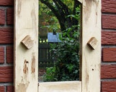 UPCYCLED REUSED RECYCLED  Rustic  wall  Mirror - green and sustainable art