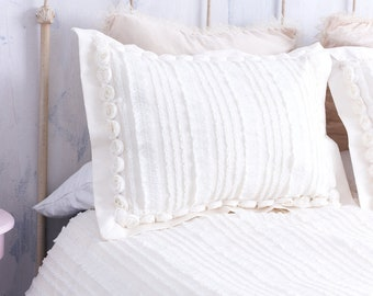 IVORY ROSETTES SHIMMERY Ruffle Sham Pillow Cover | OffWhite Ruffled Sham.Rosette Pillow Case.Shimmery Ivory Ruffles Rosettes