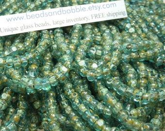 NEW 6/0 3 Cut Transparent Aquamarine Picasso Firepolished Czech Glass Seed Bead Strand (DW144)