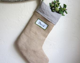 Custom linen and burlap Christmas stocking