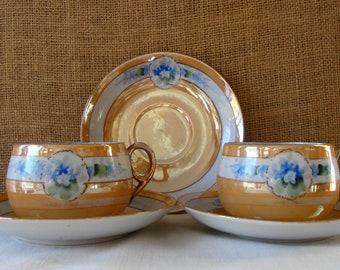 7 PC VINTAGE Lusterware Japan Porcelain Lusterware Teacups Saucers Bowls Japan Dishes