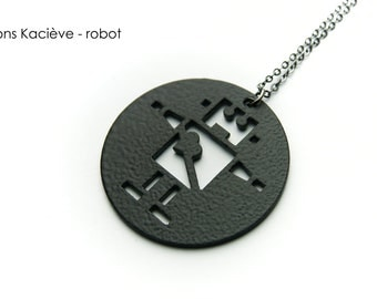 Cute black robot pendant,robot necklace,robot pendant,robot gift,cool robot,robot with heart,black jewelry,black robot,jewelry