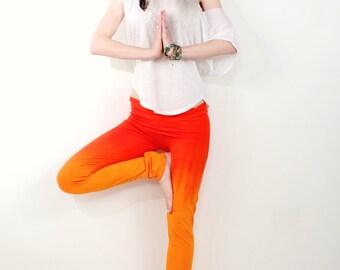 Handmade Yoga Leggings, Yoga Clothing, Orange Ombre Pants, Orange Leggings, Tie Dye Leggings, Hippie Pants, ombre yoga pants