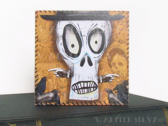 Day of the Dead Sugar Skull Wall Art - SKULL ART Panel - Mixed Media Art ready to hang