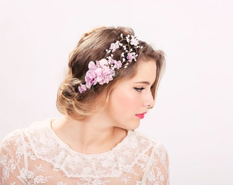wedding accessories, bridal flower crown, wedding headpiece, head wreath in purple, hair accessories, bridal, flower girl