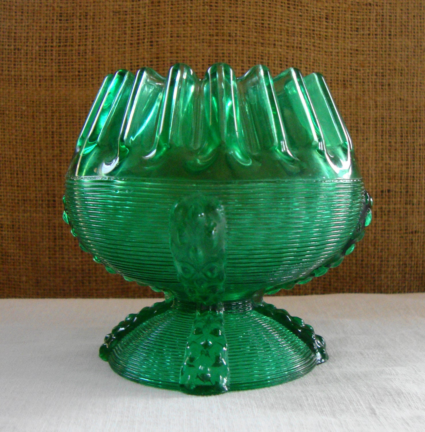 ANTIQUE DEPRESSION GLASS Art Deco Emerald Green By