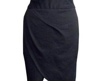 Black Pencil Skirt, High Waisted Skirt, Plus Size Skirt, Designers Skirt, Cotton Skirt, Women Black Skirt