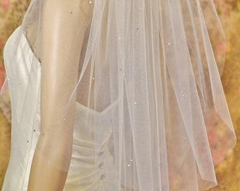 Rhinestone Veil, Sparkle Veil, Double-Sided GENUINE CRYSTALS, 2 Layer Veil Extra SOFT,Very Beautiful,Waist Length Veil,Fingertip Veil, Waltz
