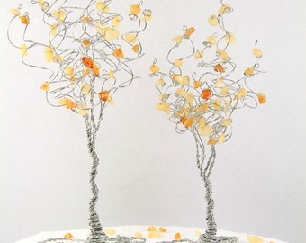 Golden Aspen Trees Wedding Cake Topper Two Wire Trees