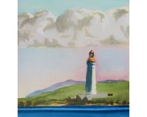 Hoy High Lighthouse from Stromness Orkney original pastel drawing