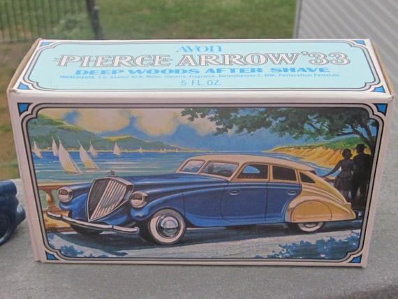 1933 Pierce Arrow Automobile Avon Bottle Original Box Full of Deep Woods After Shave 1970's