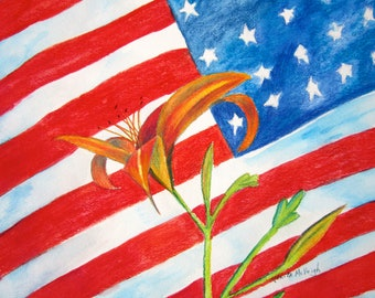 Daylily with American Flag painting.