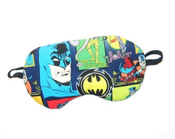 Sleep Mask -  Batman and Enemies - Comes as Shown - Handmade - Fits Kids to Adults